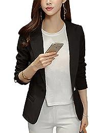 Donna Ufficio Manica Lunga Elegante Corto Blazer Tailleur Tinta Unita Giacca 763f55ecca1