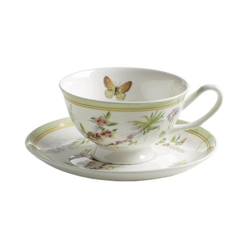 Maxwell & Williams S303104 Butterfly Garden Tasse mit Untertasse. Kaffeetasse, Becher, 180 ml, in Geschenkbox, Porzellan, grün