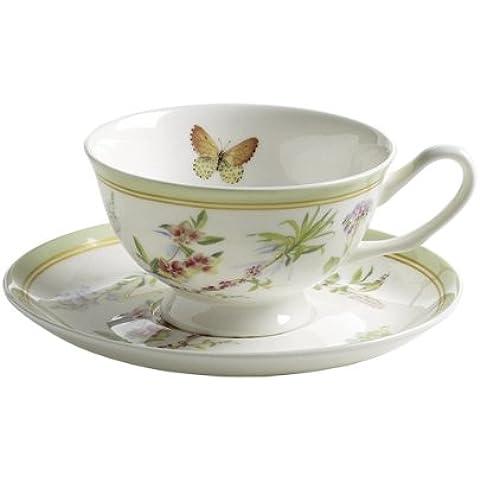 Maxwell & Williams S303104 - Tazza con farfalla in giardino, 180 ml, con piattino, in confezione regalo