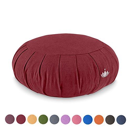 Lotuscrafts Zafu Meditationskissen Yogakissen Zen - Sitzhöhe 15cm - Yoga Zafukissen mit Dinkelfüllung - Waschbarer Bezug aus Bio-Baumwolle - GOTS Zertifiziert - Mit Bestickung (Legs Got Shes)