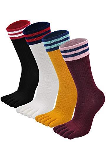PUTUO Calcetines de Dedos Mujer Calcetines Cinco Dedos de Deporte, Mujer Calcetines del Dedo del Pie, Calcetines de Algodón, suave y transpirable, 4/5 pares