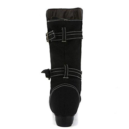Taoffen Elegant Cowboy Winter Und Chelsea Herbst Stiefel Damen Boots Schwarz Halbe rC5qfrU