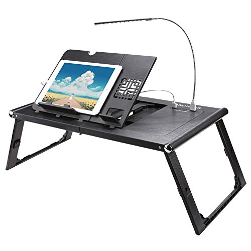 Ancheer Einstellbare Laptop Tisch Lapdesk Betttisch Faltende Smart-Tabelle mit Power Bank 10000mAh, Schwarz - Komplette 90 Tabletten