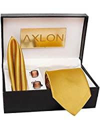 3c189bb9737a Axlon Men's Cotton Silk Neck Tie with Cufflinks and Pocket Square (Apricot,  Free Size