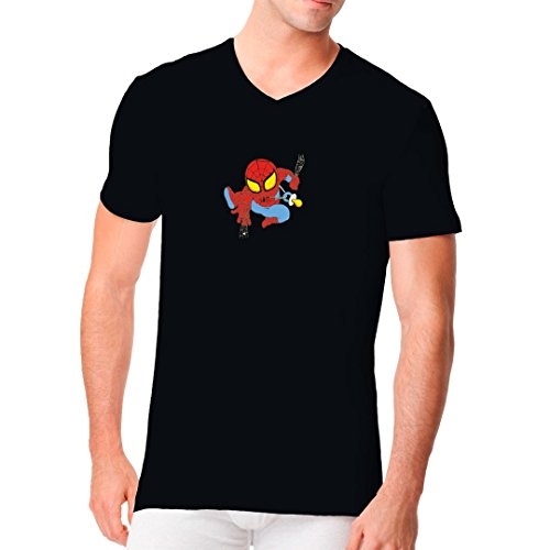 Männer V-Neck Shirt - Little Spiderboy by Im-Shirt Schwarz