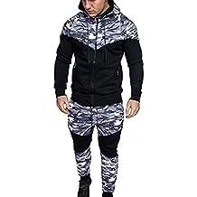 Amlaiworld Chándal de otoño invierno hombres Traje de deportiva hombres Camuflaje sudadera + pantalones conjuntos (M, Negro)