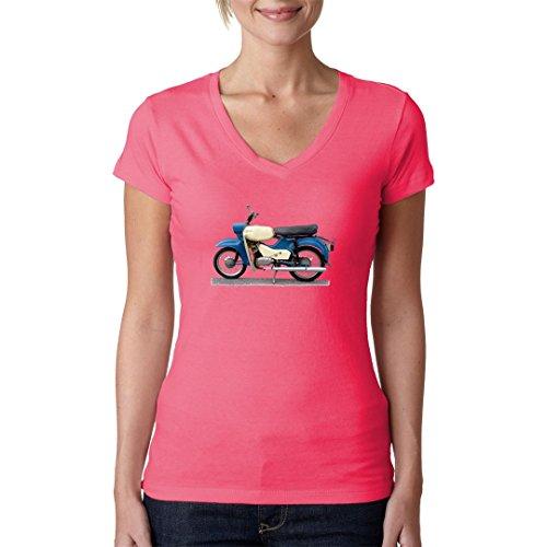 DDR Ossi Girlie V-Neck Shirt - Motorrad: Simson Sperber by Im-Shirt Light-Pink