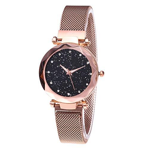 AchidistviQ-Fashion Damen-Armbanduhr, Sternenhimmel, Strasssteine, rundes Zifferblatt, Quarz, goldfarben