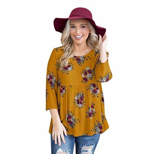 Koly Frauen Dreiviertel Ärmel Casual Boho Blumendruck T-Shirt Kleider Damen Langarm Shirt Elegant O-Ausschnitt Slim Bluse Lose Chic Tops Hemd Vintage Oberteile Freizeit Sweatshirt (Gelb, L) (Allein Kapuzen-sweatshirt)