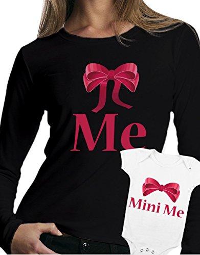 t-shirt manica lunga e body festa della mamma - Me, mini me -tutte le taglie uomo donna maglietta by tshirteria nero