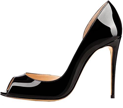 Calaier Femme Cawait 10CM Aiguille Glisser Sur Escarpins Chaussures Noir