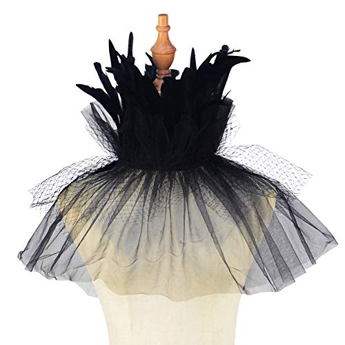 Homelex Gothic Schwarz Natürlich Wedding Feder Netz Cape Choker Kragen (Black-FN)