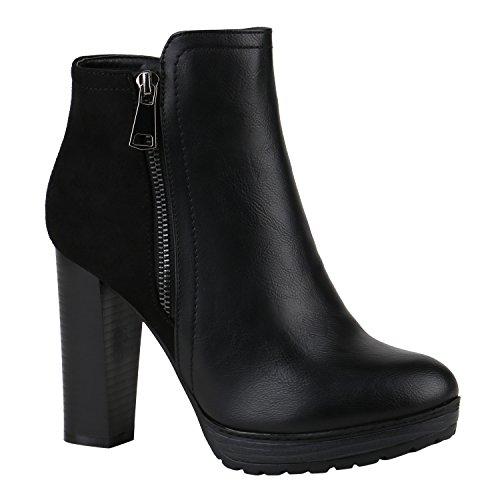 Stiefelparadies Damen Stiefeletten High Heels mit Blockabsatz Profilsohle Flandell, 36 EU, Schwarz Zipper Autol