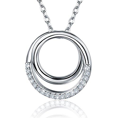 erling Silber Halskette Niemals jemals auseinander Sein Liebe Infinity Ring Kreis Anhänger Weißgold überzogene Frauen Halskette 18