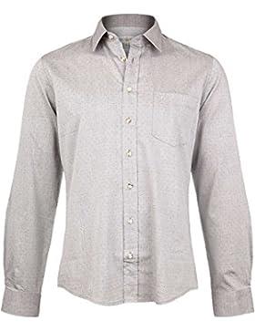 Almsach Herren Trachten Hemd Slim Fit Grau, 3075-GRAU,