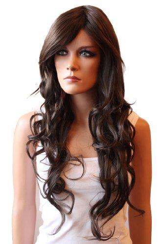 Prettyshop modo della signora lunga dei capelli parrucca piena termoresistente chololate brown fp713b