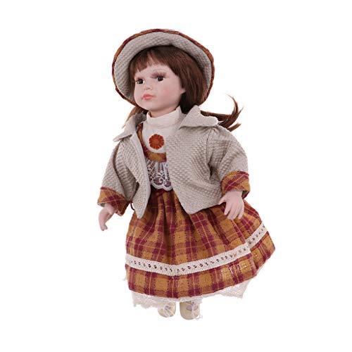 KESOTO 40 cm Vintage Elegante Muñeca de Porcelana Muñeca Muchacha en