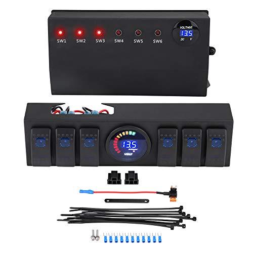 KIMISS 6-Rocker Panel de interruptores, Interruptor combinado con Medidor de Electricidad de Voltaje y Circuito de Freno para JK JKU 2007-2018