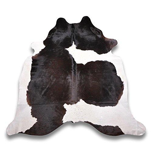 Goodsmania Premium Kuhfell-Teppich - L215 x B195 cm - Schwarz Braun Weiß - einmaliges Naturprodukt aus Südamerika