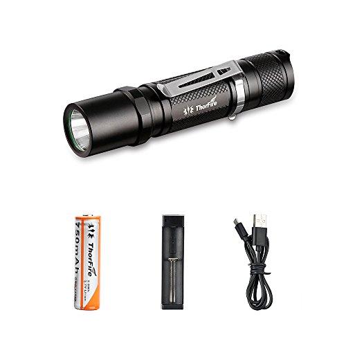 LED Taschenlampe Mini, ThorFire LED AA Taschenlampe EDC Taktische Taschenlampe IPX8 Wasserdicht Taschenlampe 500 Lumen 5 Modi Mit Strobe geeignet für AA/14500 Akku (TG06S Set)