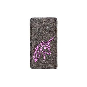 Handytasche aus Filz mit pink glitzerndem Einhorn, passend für iPhone 6, 6s und 7