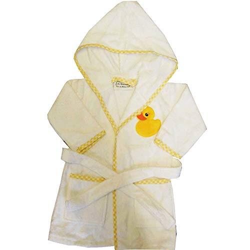 Bestickte Kapuzen-robe (La Cotonniere Kinder Kinder Baumwolle Deluxe Bestickt Robe mit Kapuze/Bademantel - Gelb Ente, 5-6 Years)