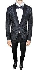 Idea Regalo - Abito completo uomo sartoriale nero tessuto raso floreale slim fit vestito smoking elegante (52)