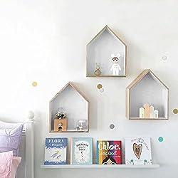 JUEYAN 3X Étagère Murale en Forme de Maison en Bois