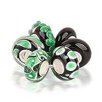 Bling Jewelry lot de breloque en verre de murano noir vert