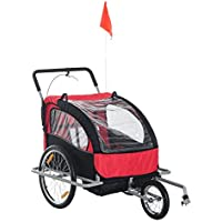 HOMCOM 2 in 1 Collapsible 2-Seater Kids Jogger Stroller and Bike Trailer with Pivot Wheel (Black and Red)