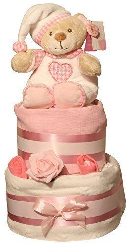 de luxe blanc étoiles Gâteau de couches Bleu ou rose design cadeau enveloppé dans CELLOPHANE nœud &Étiquette cadeau bébé - Rose
