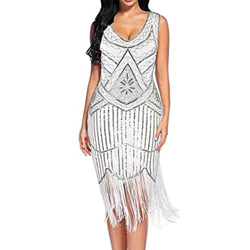 Amphia Damen 1920er Gatsby Art Deco Perlen Franse Flapper Charleston Kleid (Weiß, M)