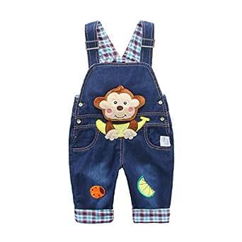baby jungen m dchen denim latzhose kleinkind hosentr ger jeans overall affe mit banane. Black Bedroom Furniture Sets. Home Design Ideas