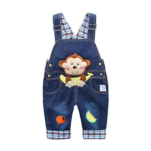 Baby Jungen Mädchen Denim Latzhose Kleinkind Hosenträger Jeans Overall Affe mit Banane Herstellergr.100 - Deutsche Gr.98/104