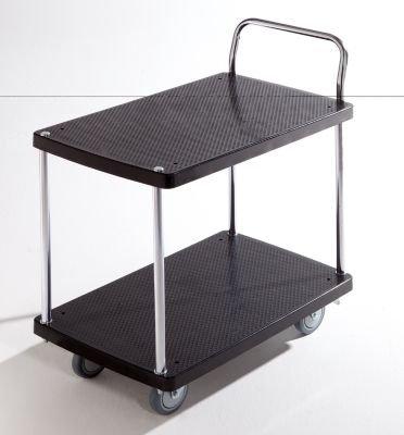 Servier-Tischwagen – 2 Etagen, 1 Schiebebügel Tragfähigkeit 150 kg – Beistellwagen Tischwagen Wagen Werkstattwagen Etagenwagen Kunststoff-Wagen Plattformwagen - 3