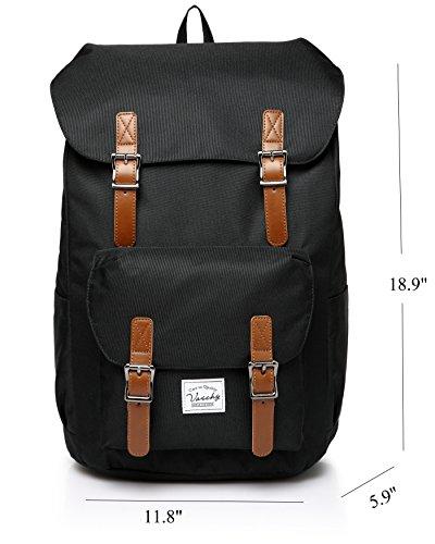 Rucksack Vintage, Vaschy Herren rucksack Leicht Studenten Rucksack Lässiger Daypack Unisex Camping Rucksack für 15in Laptop Schwarz 06-Schwarz