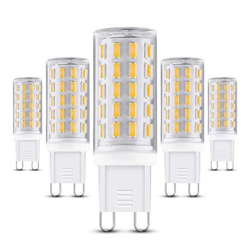 G9 LED Lampe,5er Pack 5W 400 Lumen, 3000k warmweiß Energiesparlampen und Kein Flackern G9 LED Leuchtmittel Ersatz 40W G9 Halogenlampe, 360° Abstrahlwinkel MEHRWEG [Energieklasse A++] - Mini-multi Light-anhänger-beleuchtung
