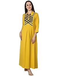 88a30039de Patrorna Women s Blouseon Shirtdress Maternity Nighty Night Dress in  Mustard Yellow (Size S-7XL