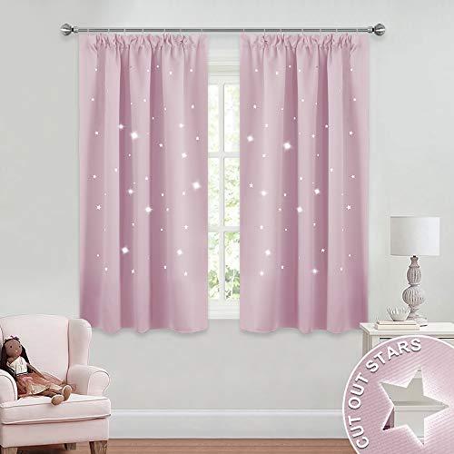 Pony dance tendaggi stelle vuote per finestre piccole colore rose chiaro decorazione bambini neonati ragazze/drappeggi tessuti spessi termiche antimosche, 2 pannelli, 116 x 137 cm (l x a)
