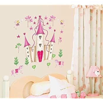 Wall Stickers Art Large Princess Fairy Castle Wall Stickers Wall Decals  Kids Bedroom Nursery Part 73