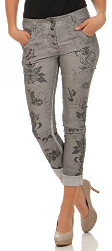 malito Damen Jeans mit Blumen Muster   Hose mit Strass   Stretch Jeans im  Denim Look 64f1cb66b7