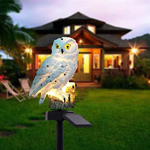 Solar 3D Eulen Landschaft Lichter LED-Gartenlichter Solarnachtlichter, angetriebene Rasen-Lampen-Licht für Patio, Yard, Party Dekoration (Weiß) (Halloween Rasen Beleuchtete Dekorationen)