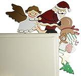khevga Weihnachtsdeko Türrahmen-Deko Holz Weihnachtsmann Engel