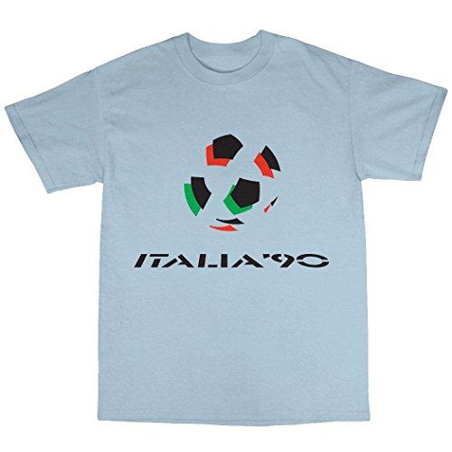 Italia 90 T-Shirt 100% Baumwolle Hellblau