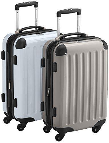 HAUPTSTADTKOFFER - Alex - 2 x Handgepäck Hartschale glänzend, TSA, 55 cm, 42 Liter, Graphit-Apfelgrün Graphit-Silber