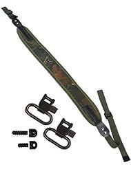 Correa de neopreno para colgar Arma de aire o Escopeta + eslabones de 2,50 cm y broches de tornillo