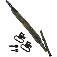 Savage Island Correa de Neopreno para Colgar Arma de Aire o Escopeta + eslabones de 2,50 cm y broches de Tornillo