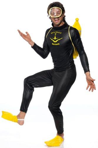 Taucher Kostüm Schwarz mit Oberteil Hose Maske Flossen und Flasche, One (Taucher Kostüm)