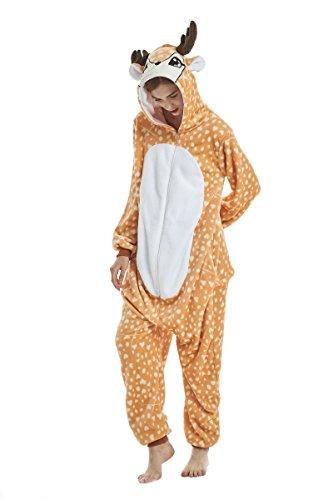 Yuson Mädchen Winter Flanell Einhorn Onesie Pyjamas Erwachsene Unisex Einteiler Cartoon Tier Kostüm Neuheit Weihnachten Cosplay Pyjamas (XL: passend für 177cm-185cm, Elch)