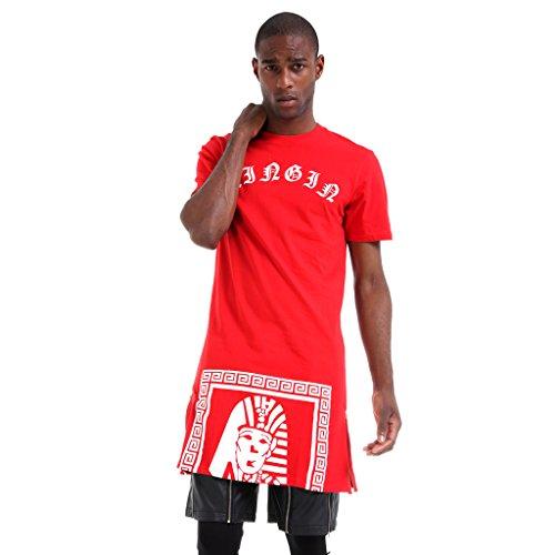 Pizoff Unisex Hip Hop Langes T-Shirt mit Medusa Druckmuster und Reißverschluss K4108-Red